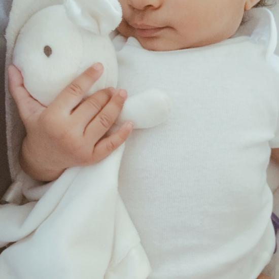 Newborn with plush animal
